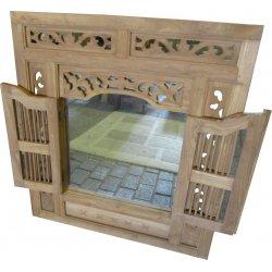 """Teak spiegel """"Prison Mirror"""" houtsnijwerk 140 cm breed"""