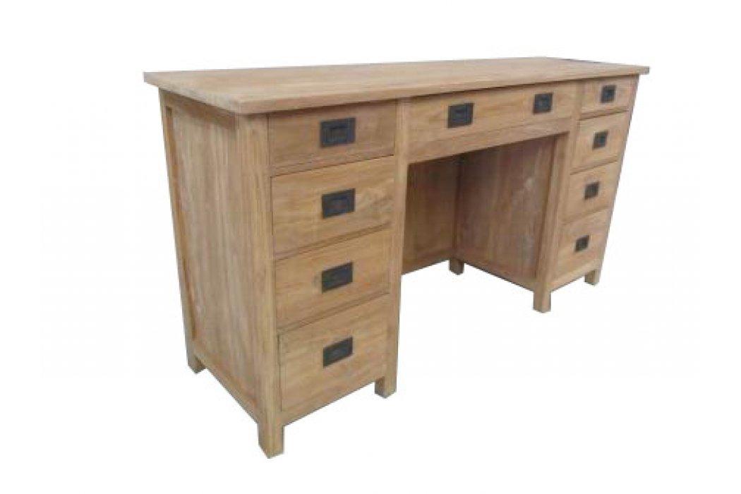 teak bureau 39 jordy 39 150 cm breed met 9 laden. Black Bedroom Furniture Sets. Home Design Ideas