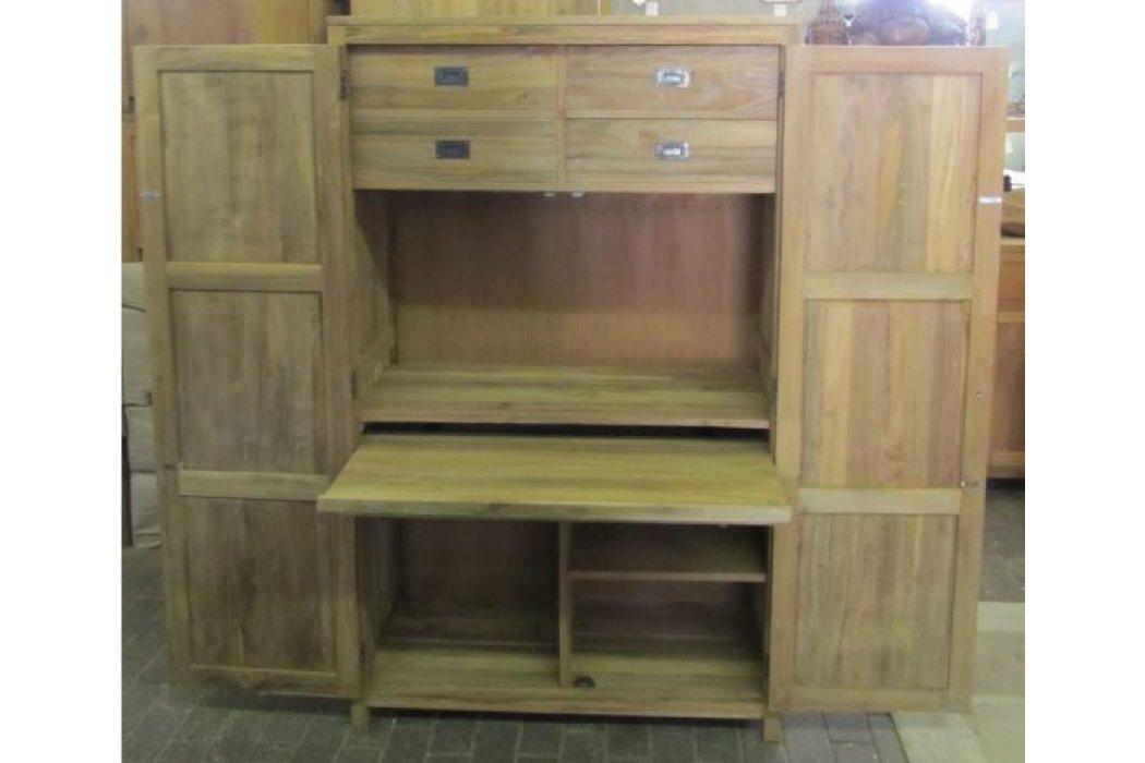 Badkamerkast Oud Hout : Teak recycled oud hout pc kast met laden en deuren