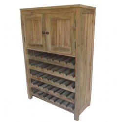 Teak Recycled Oud Hout Wijnkast met 2 deuren