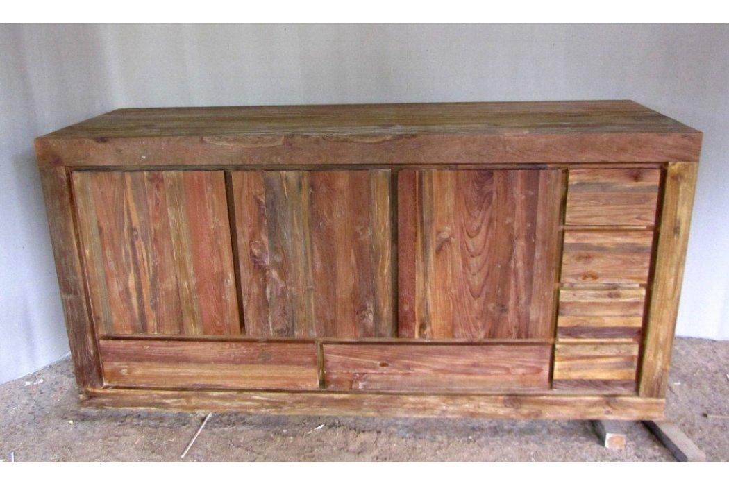 Dressoir en teak : Teak recycled oud hout dressoir hoog met laden en deuren