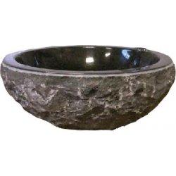 Marmeren waskom stenen buitenkant zwart