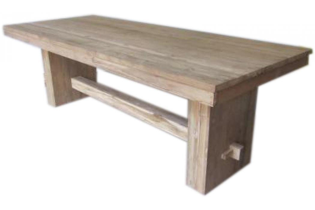 Teak recycled oud hout eettafel bij klooster model slob
