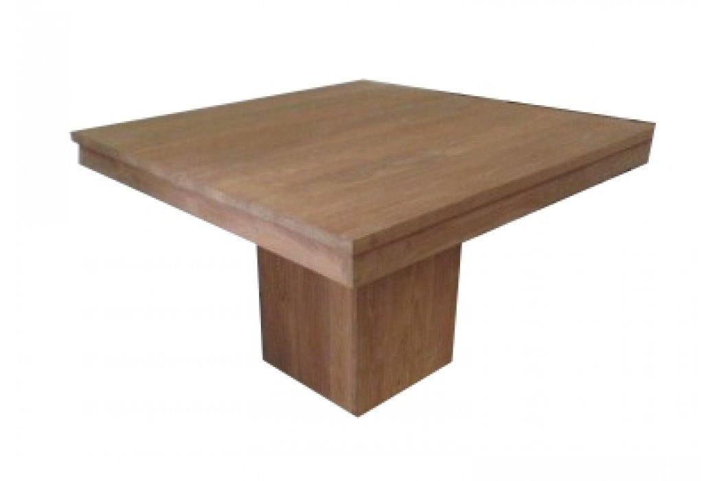 Vierkante Uitschuif Eettafel.Teak Eettafel Kolom Vierkant 120 Cm